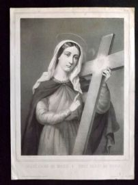 After Suzanne C1850 Religious Print. Holy Heart of Maria. Lemercier